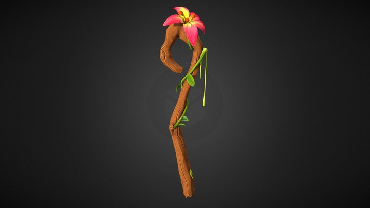 Stylised hand painted staff 3D Model