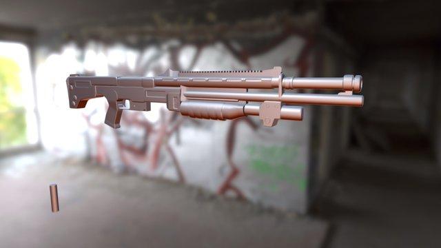 Shotgun with ammo 2. 3D Model