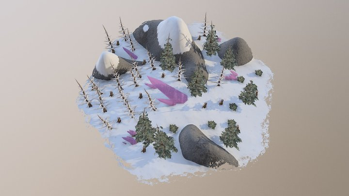 Hexagon Tile - Rocky Snow 3D Model