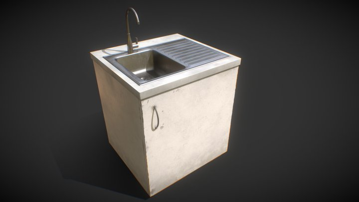 Kitchen counter with sink 3D Model