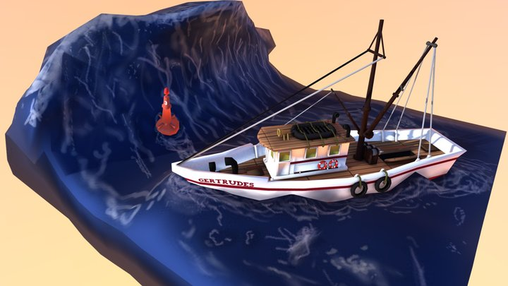 Boat in the storm 3D Model