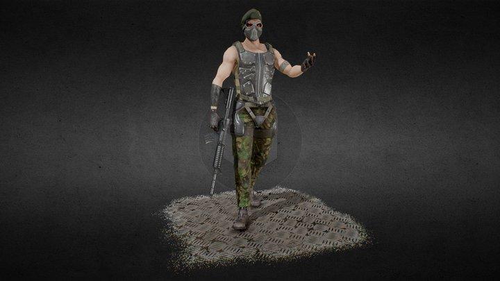 Lowpoly Mercenary (Game ready) 3D Model