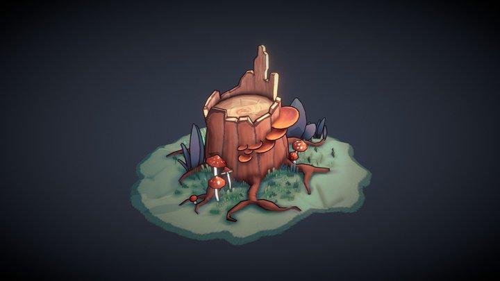 Tree Stump stylized 3D Model