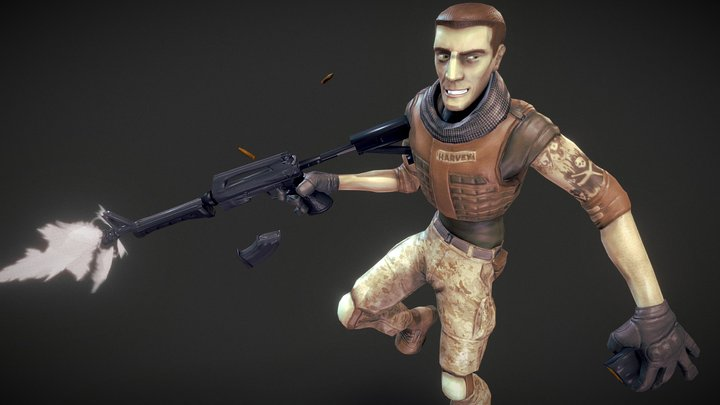 Combat Harvey Model and Rig 3D Model