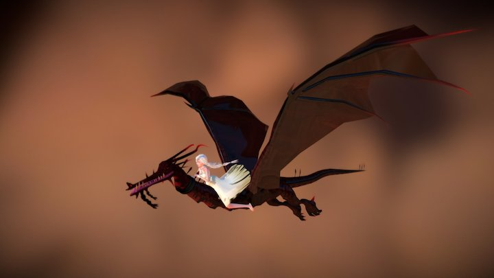 Dany and Drogon Flying - (Animation) 3D Model