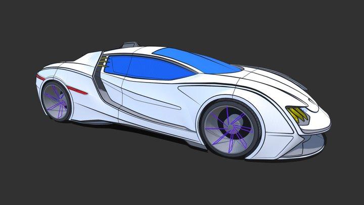 VR Car Sketch 3D Model