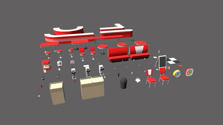 Diner Prop Pack 3D Model