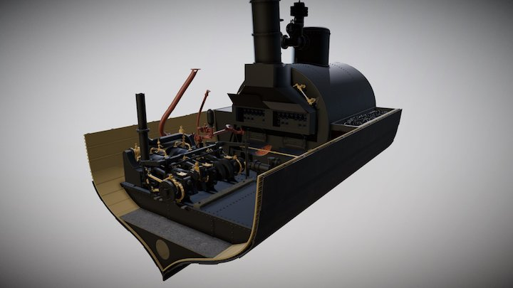 SS Xantho horizontal trunk engine and boiler 3D Model