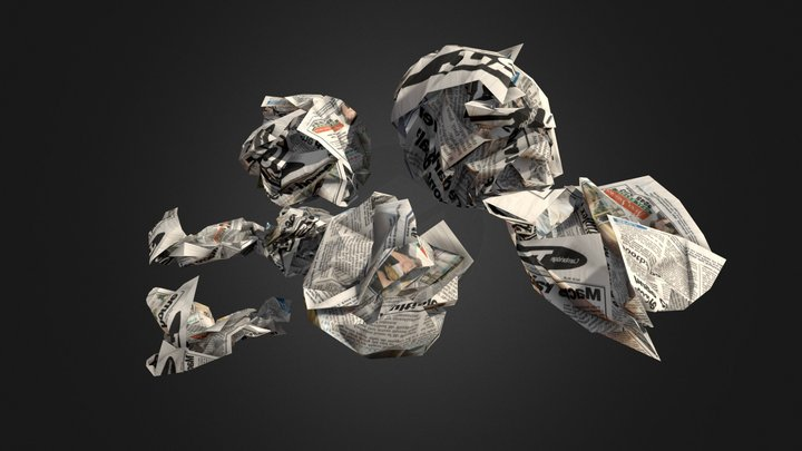 Crumpled Paper Low poly 3D Model