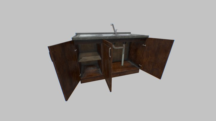Old Kitchen Cabinet with Sink 3D Model