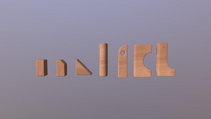 Wood Blocks Apart 3D Model