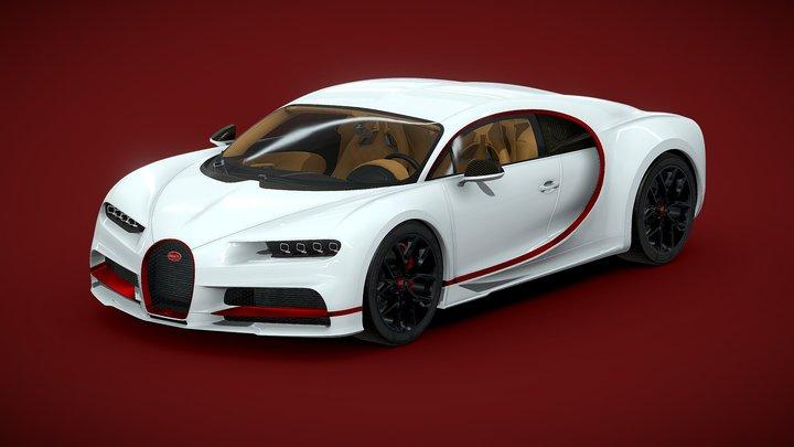 Bugatti Chiron White 3D Model