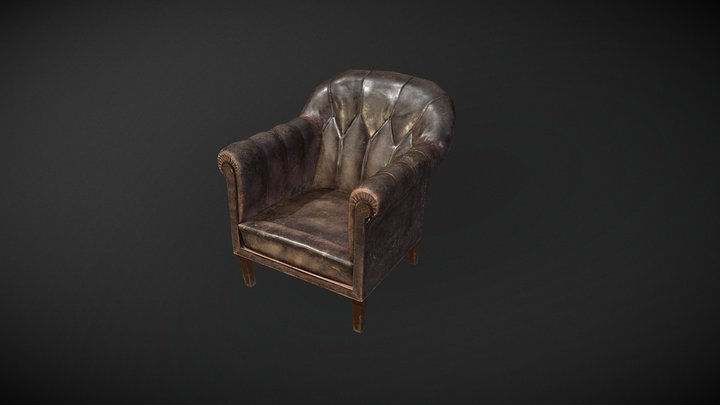 old_leather_armchair 3D Model