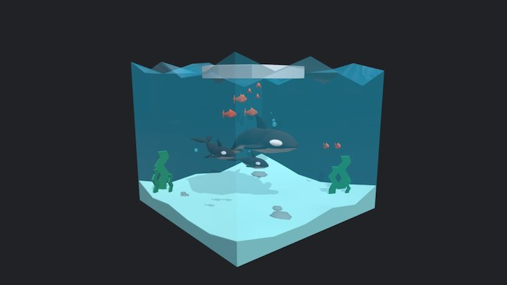 Animal Family Challenge - Low Poly Orca Family ! 3D Model