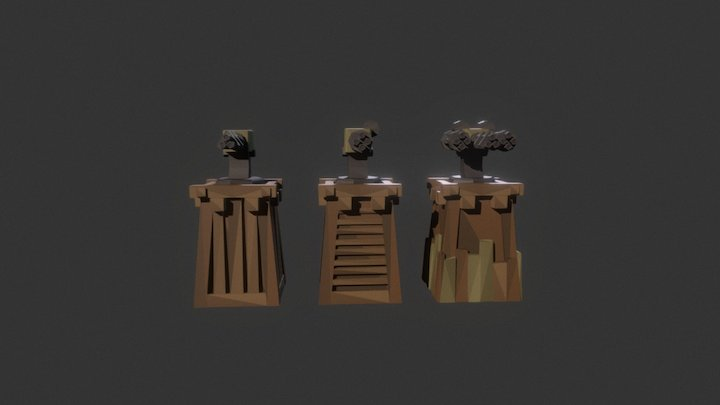 Low Poly Tower Defense Turret Gatling.unity 3D Model