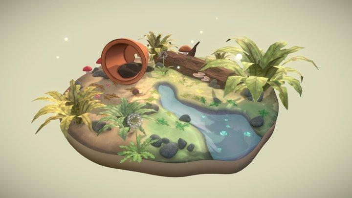 Snail Garden Diorama 3D Model