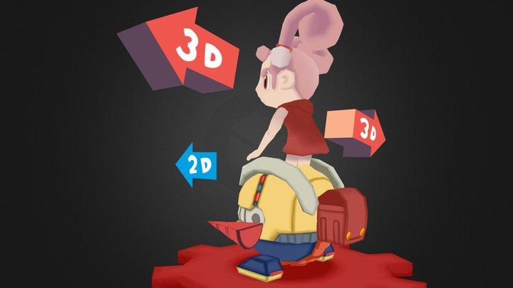 Dori Kururi - Drill Dozer 3D Model