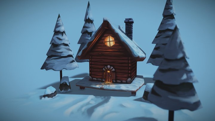 cozy cottage at full moon 3D Model