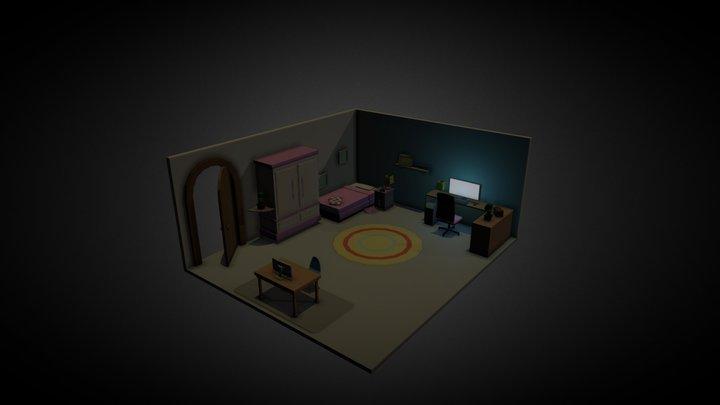 Cenário isométrico - Quarto Infantil 3D Model