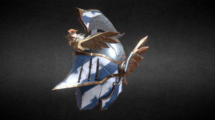 Crusader Helmet Dark Fantasy 3D Model