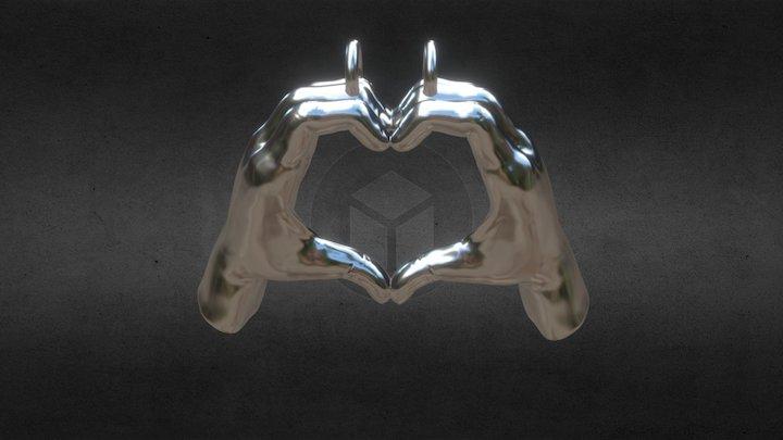 Hand Heart Pendant 3D Model