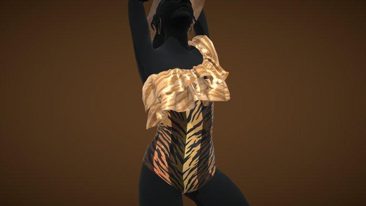 Female Tiger Print Swimsuit 3D Model