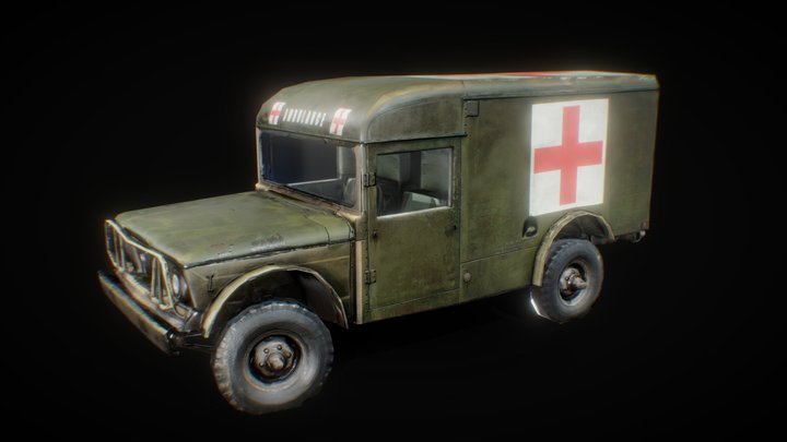 Retextured M725 Military Ambulance 3D Model
