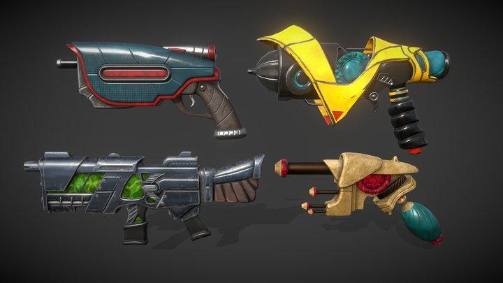 Stylized Alien Guns 3D Model