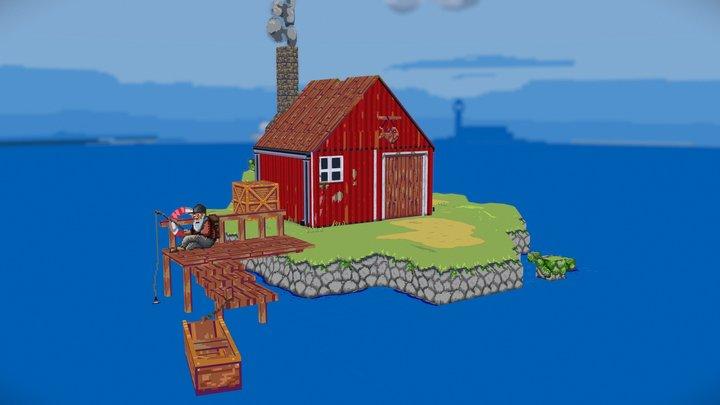 Low poly Fishing Hut 3D Model