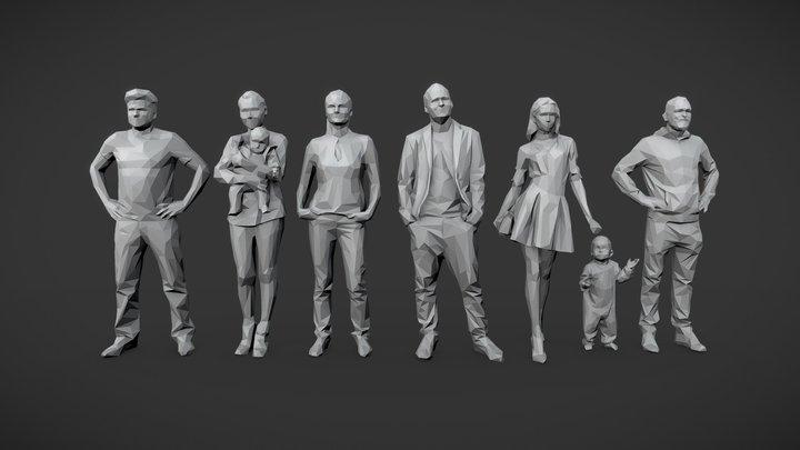 Lowpoly People Casual Pack Vol.3 3D Model