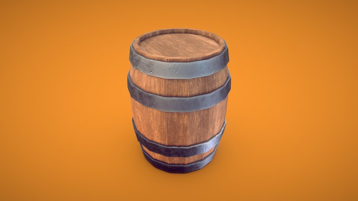 Stylized Barrel 3D Model