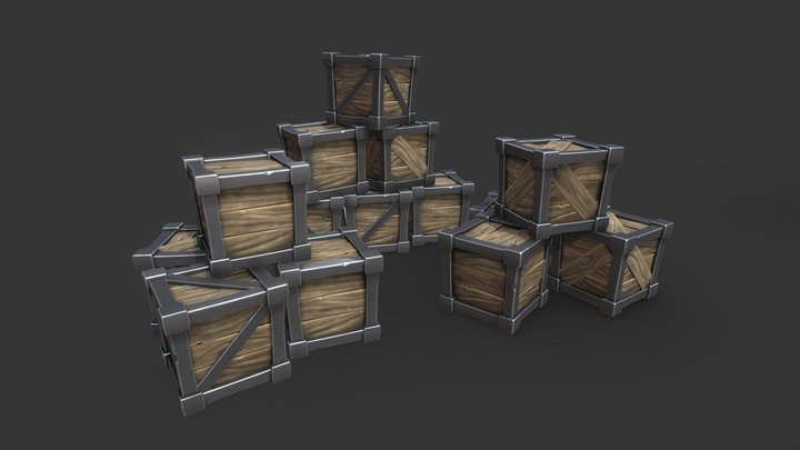 Fantasy Wooden Crate 3D Model