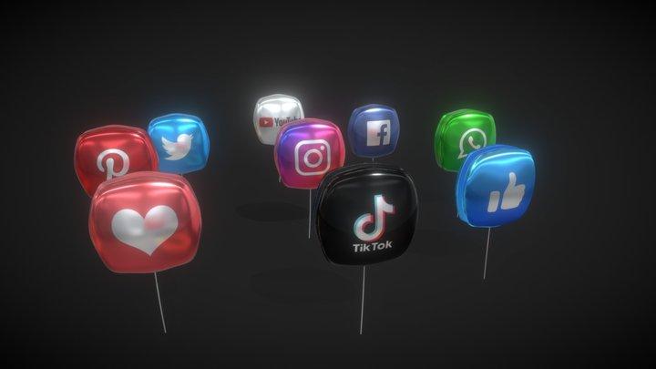 Social Media Balloons 3D Model