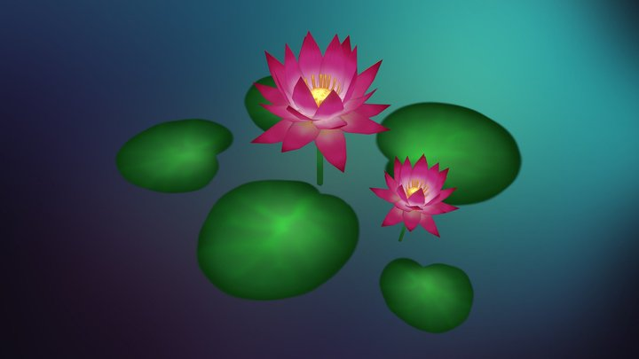 Hand Painted Lotus Plant 3D Model