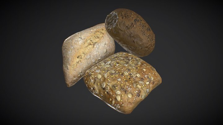 Bread roll three pack - low poly photogrammetry 3D Model