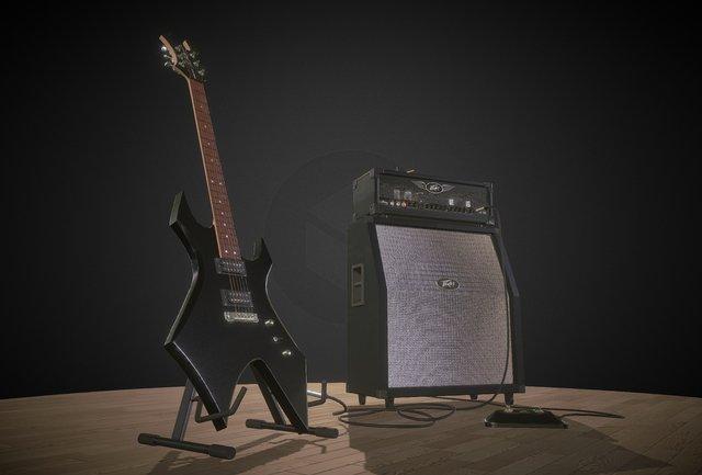 Guitar & Amp 3D Model