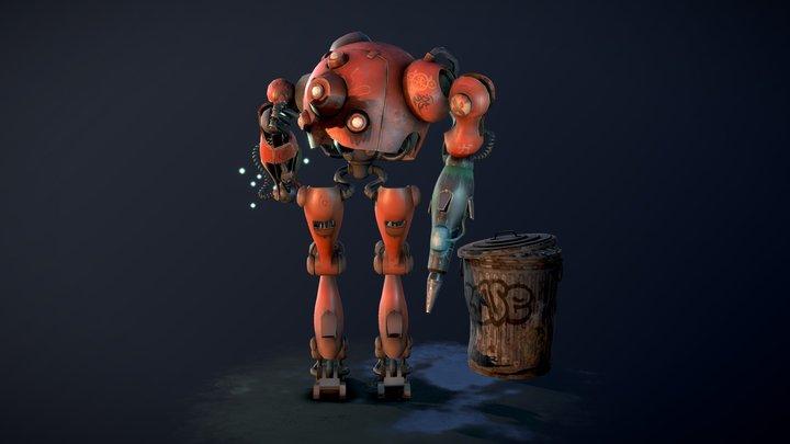 Graffiti robot and fireflies 3D Model