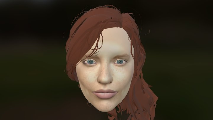 Woman's Face more hand painted texture test WIP 3D Model