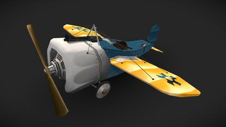 stylized Low Poly - Fokker E1 3D Model