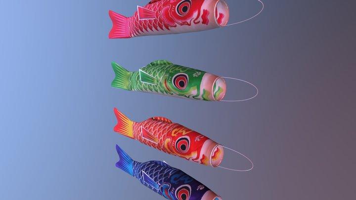 Carp Flag Koinobori 3D Model