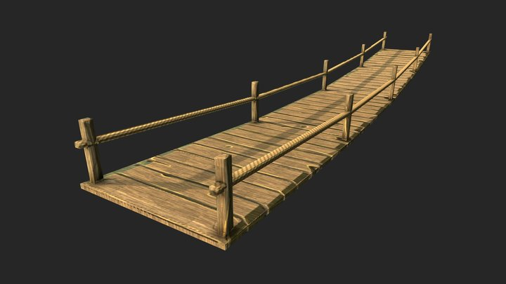 Low-Poly Hand-Painted Wood Bridge 3D Model