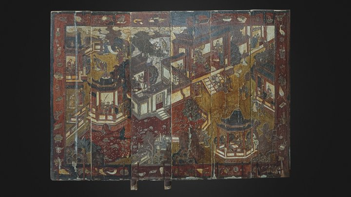 Ancient Chinese folding screen 3D Model