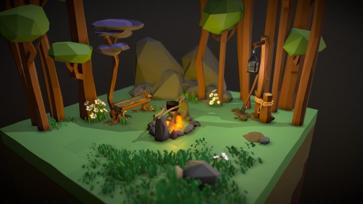 Low Poly Forest Campfire [Updated] 3D Model