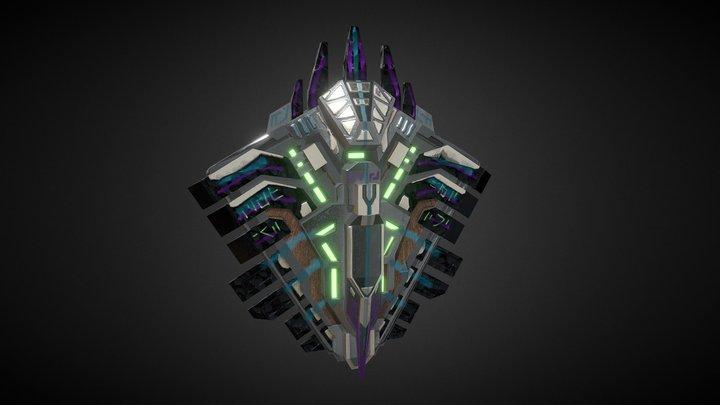 Aztec Cyberpunk Shield 2 3D Model
