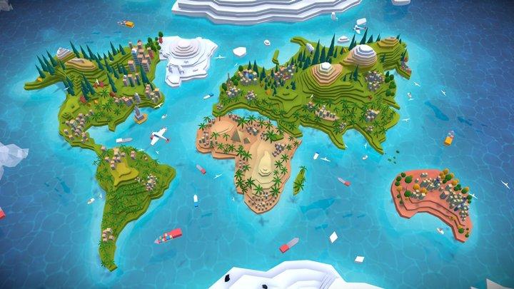 Cartoon Low Poly World Map 2.0 3D Model