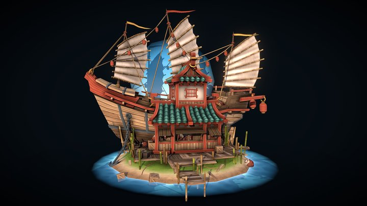DAE Villages | Shipwrecked Chinese Supply Store 3D Model