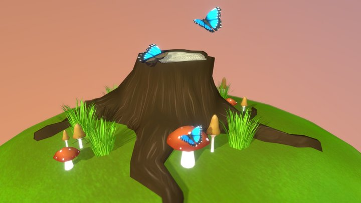 Butterfly forest diorama 3D Model