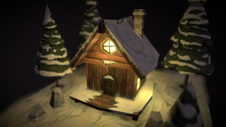 Winter Cottage Hand Painted 3D Model