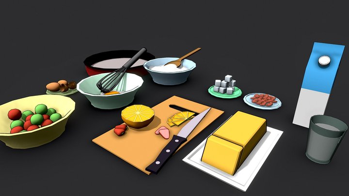 #3December-Fruitcake #4 | Cooking Preparation 3D Model