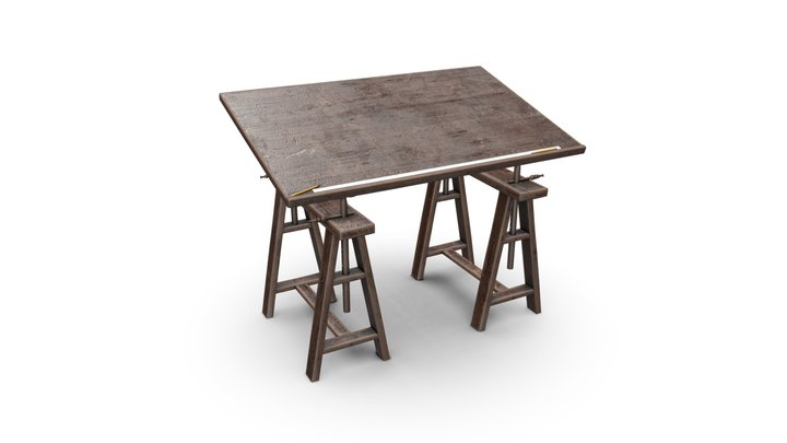 Old Drafting Table 3D Model
